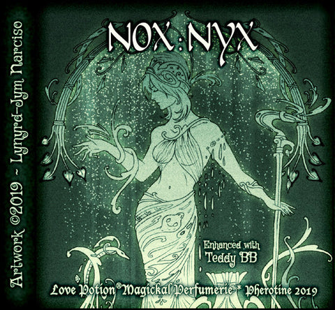 Love Potion Nox: Nyx label featuring dark goddess figure, by artist Lynryd-Jym Narciso.
