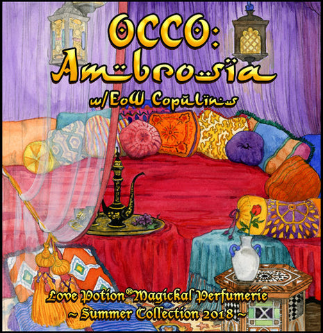 Love Potion perfume label for OCCO: Ambrosia, painting of lavish bedroom with colorful tapestries, artwork by Callie French.