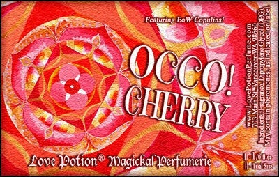 Love Potion OCCO Cherry label featuring text on a red mandala background.