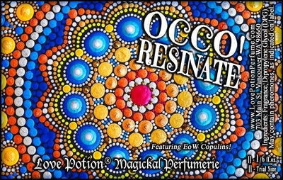 Love Potion OCCO Resinate label featuring text on colorful mandala background.
