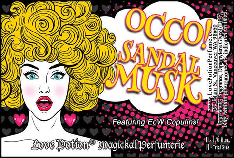 Love Potion OCCO Sandal Musk label, featuring Pop Art style attractive female.