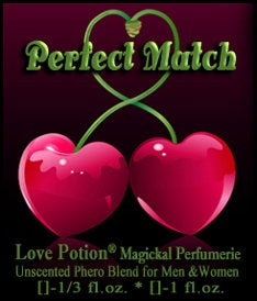 Love Potion Pheromone label featuring 2 cherries with entwined stems.