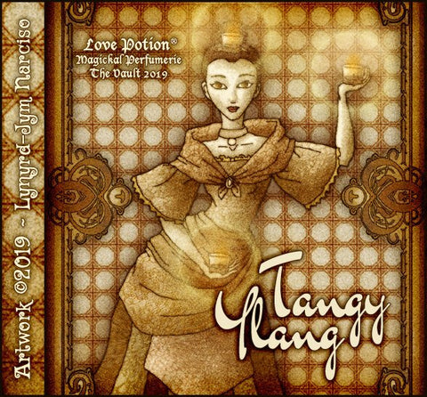 Love Potion: Tangy Ylang label, featuring a beautiful candle dancer, by artist Lynryd-Jym Narciso.