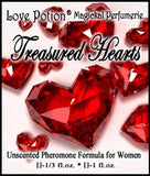 Love Potion:Treasured Hearts pheromone label featuring a scattering of beautiful red crystal hearts that look like previous gems.