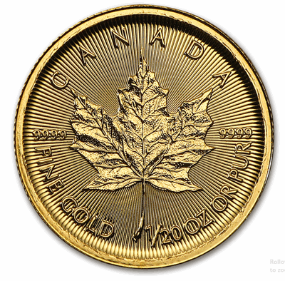 Gold Canadian Maple Leaf 1/20-oz