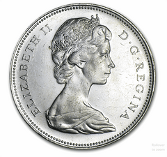 Silver Canadian $1, 80% pure, 0.6-oz