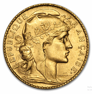 Gold French 20-Franc Rooster