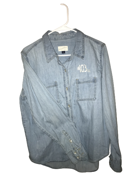 Upcycled denim button up