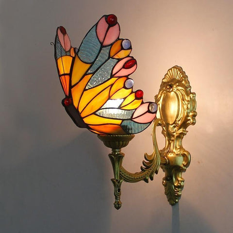 Lampe papillon murale Tiffany orange et bleu - Rêve de Papillon