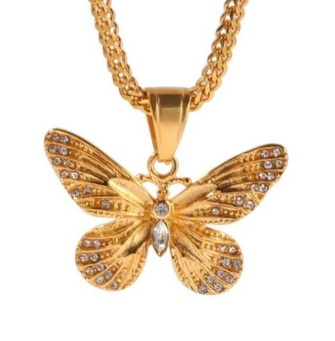 Collier Papillon Or style Bling Bling - Rêve de Papillon