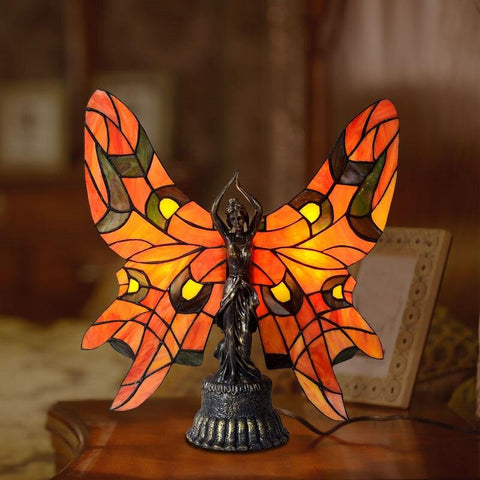 Lampe Papillon Vitrail Tiffany Rouge et Orange - Rêve de Papillon