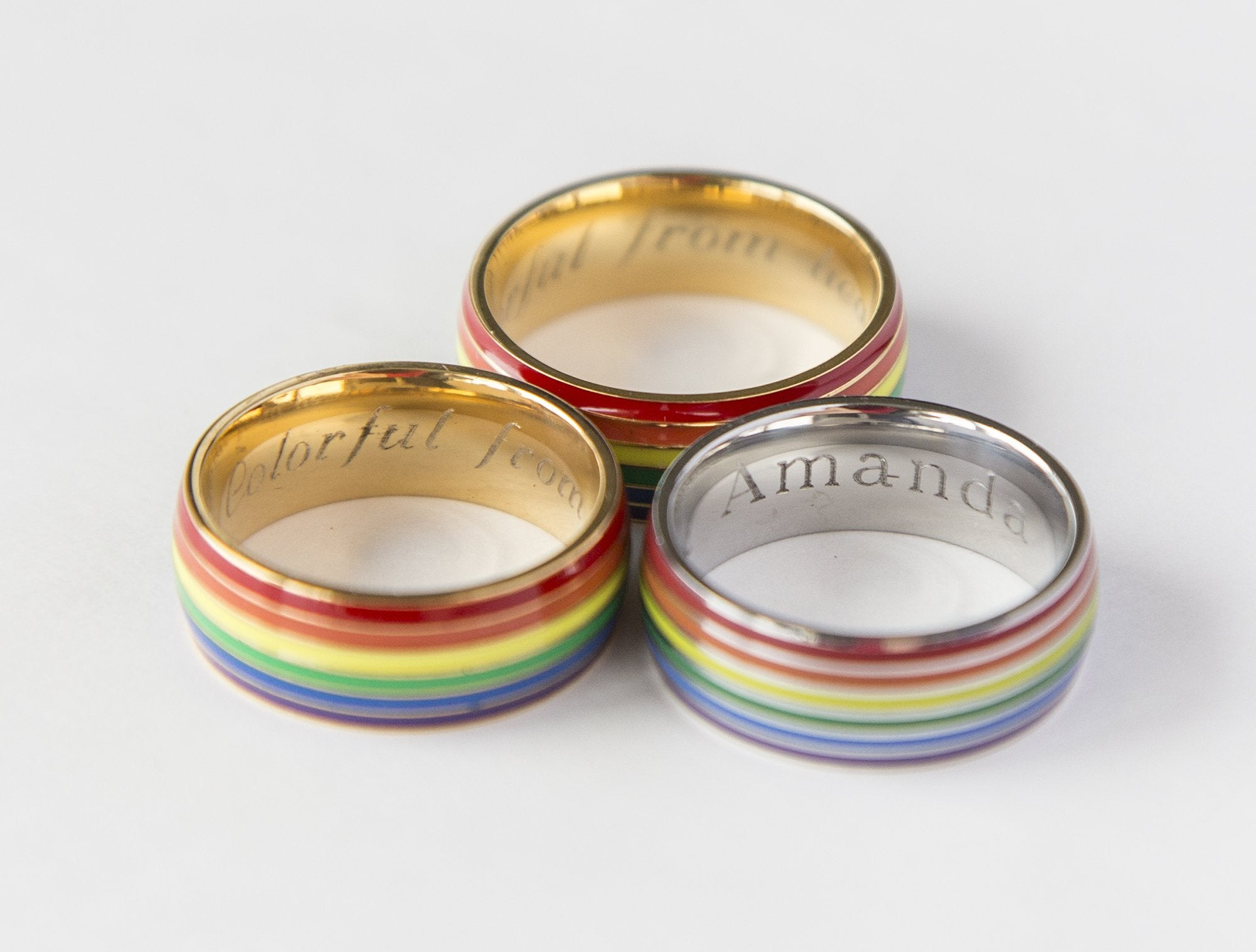 Gay Pride Rainbow Ring Engrave Your Message