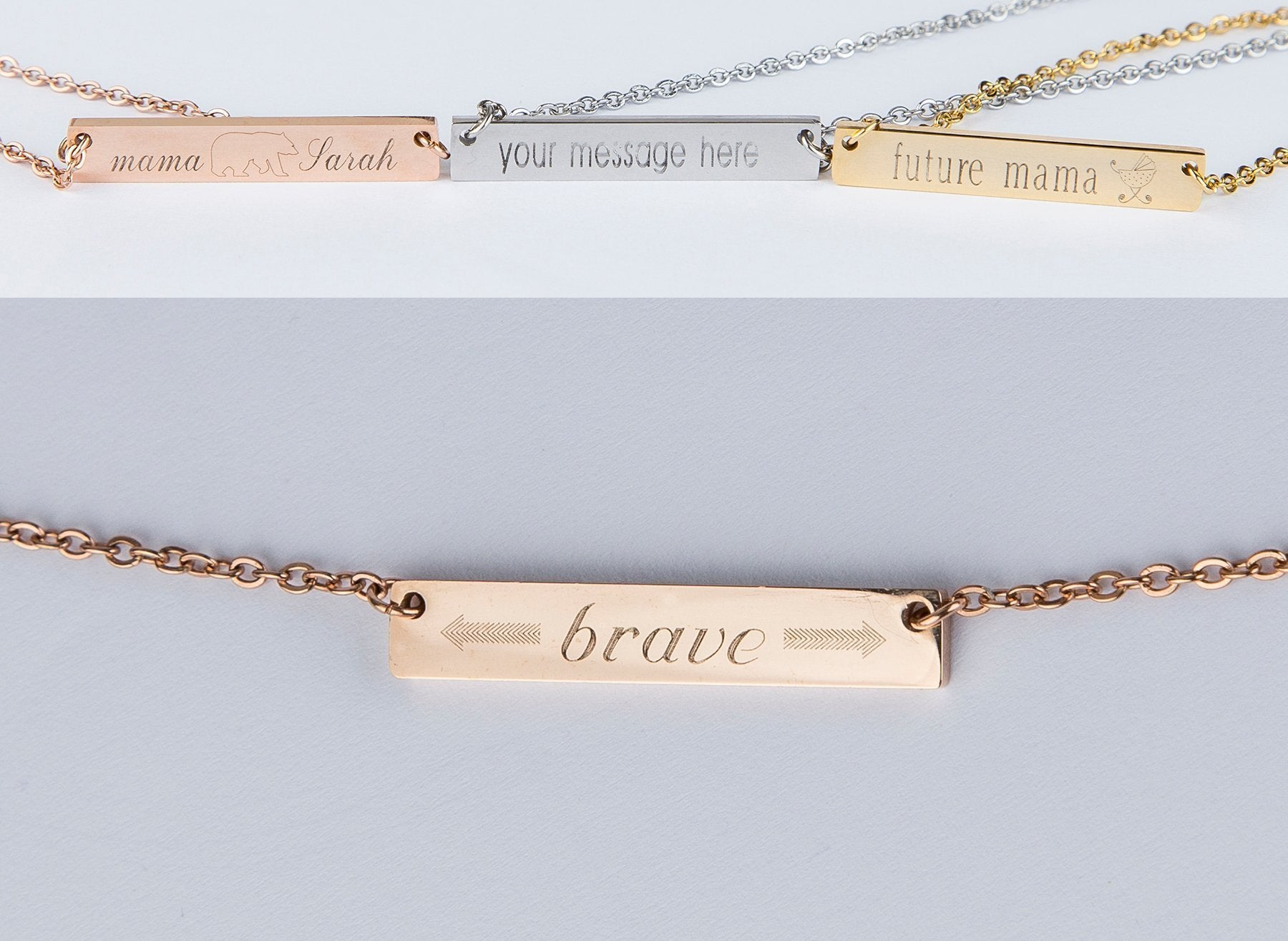 Be Brave Bar Necklace Personalised Gift - Studio Cosmica