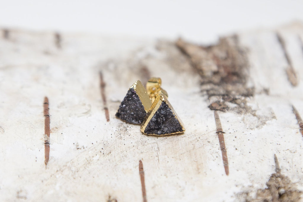 Black Triangle Crystal Earrings - Studio Cosmica