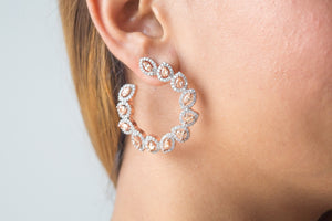 Crystal Hoop Earrings in Sapphire