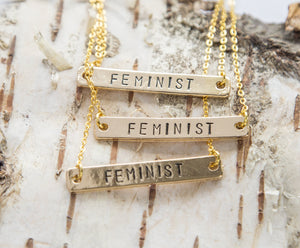 Feminist Necklace, Gold, Handmade - Studio Cosmica
