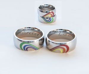 Gay Pride Rainbow Heart Ring Set Equal Love - Studio Cosmica