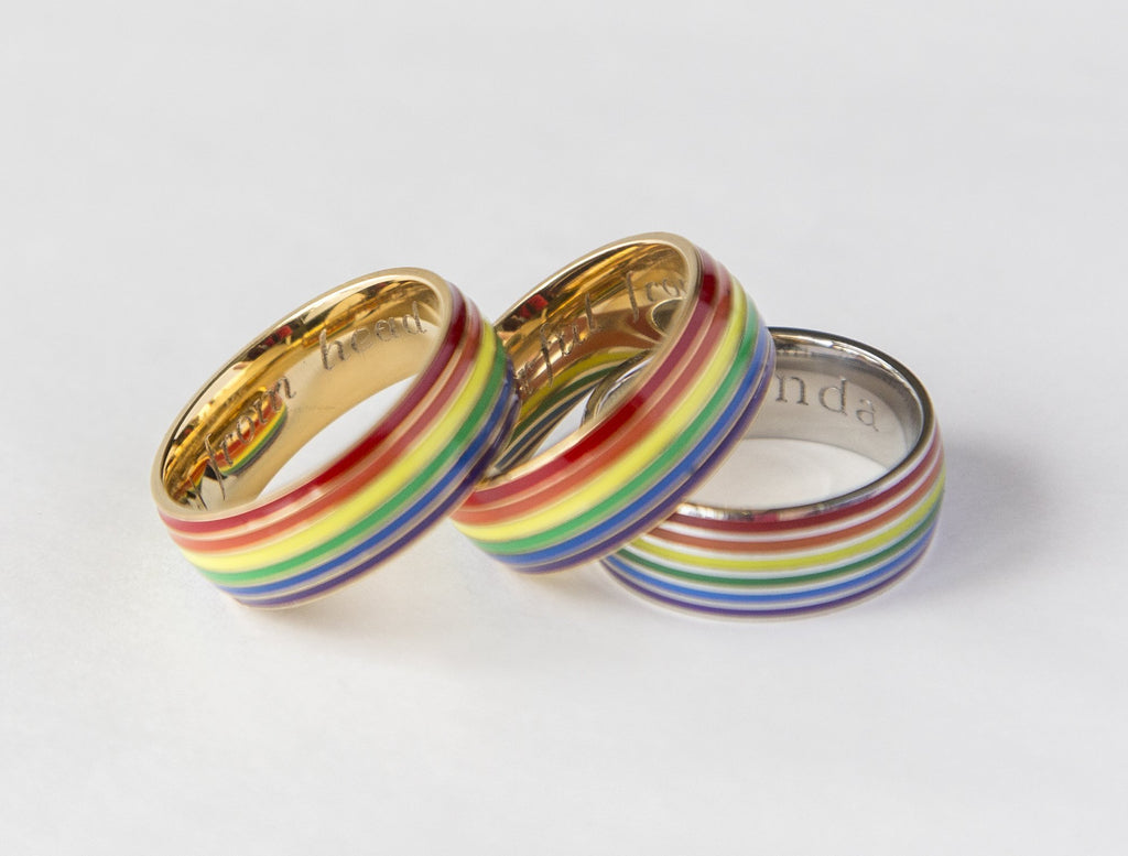 Gay Pride Rainbow Ring Engrave Your Message - Studio Cosmica