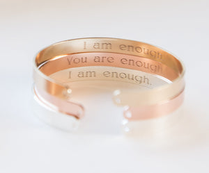 I Am Enough Bracelet, Engraved Secret Message - Studio Cosmica
