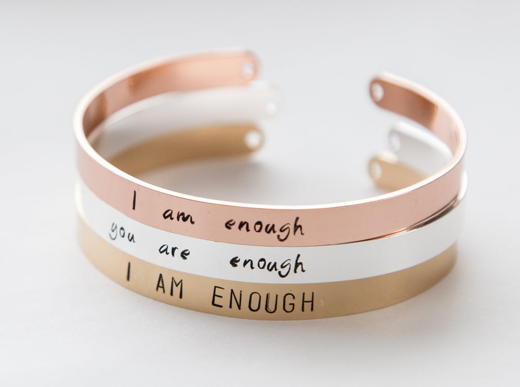I Am Enough Bracelet, Handmade & Inspirational - Studio Cosmica