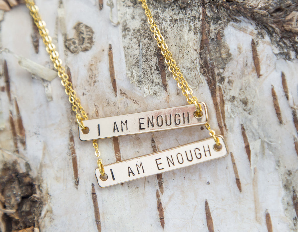 I Am Enough Necklace, Hand Stamped Golden Bar - Studio Cosmica