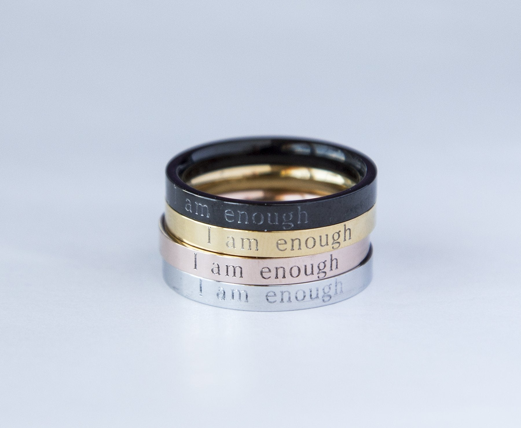 I Am Enough Personalized Engraved Ring - Studio Cosmica