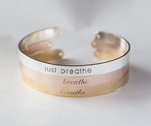 Just Breathe Engraved Bracelet, Yoga Gift, Made in EU - Studio Cosmica
