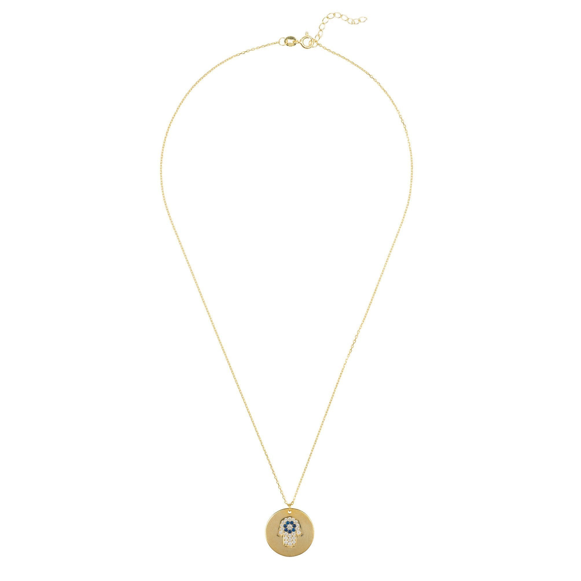 Premium Fatima Disc Necklace 22ct Gold Sterling Silver - Studio Cosmica