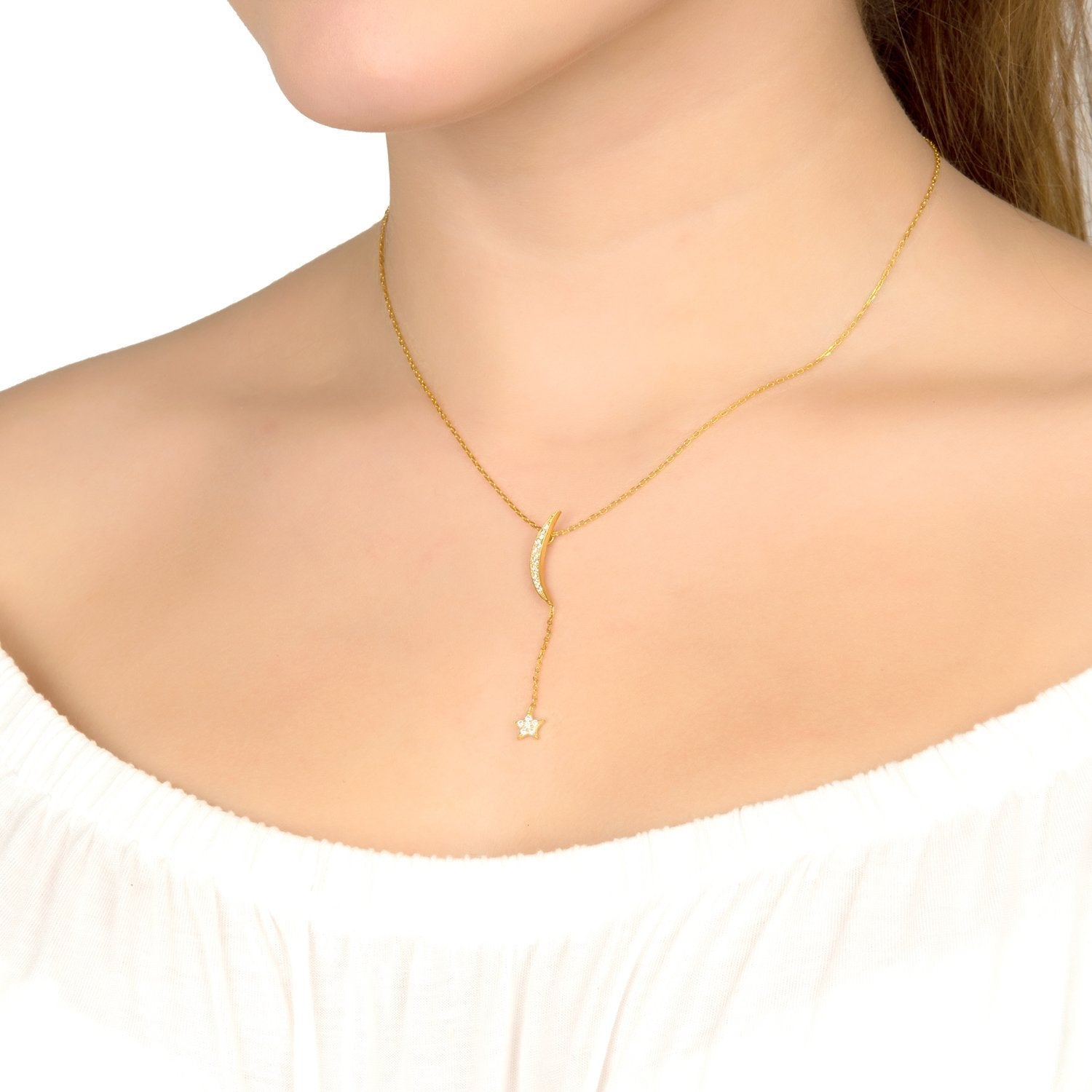 Premium Moon and Star Necklace 22ct Gold - Studio Cosmica