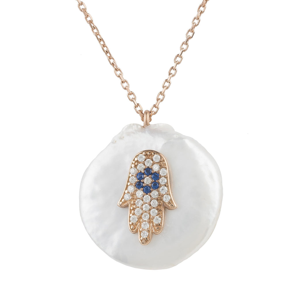 Premium Pearl and Hamsa Necklace 22ct Rosegold - Studio Cosmica