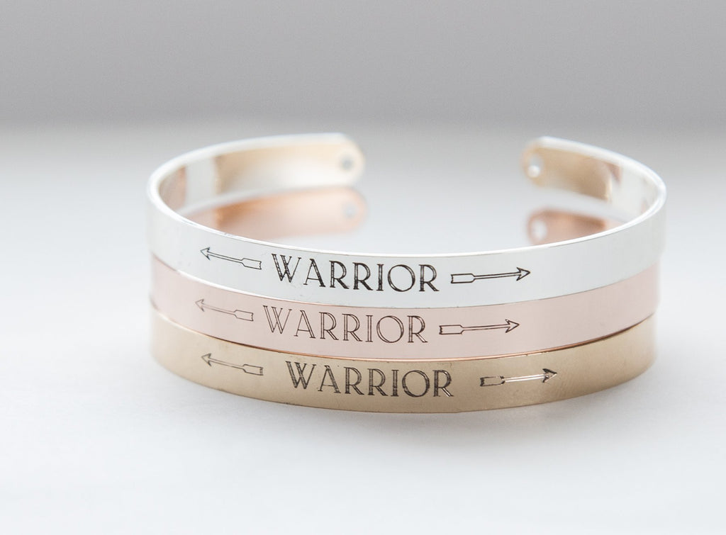 Warrior Yogi Bracelet, Engrave Your Inspirational Message Bracelet - Studio Cosmica