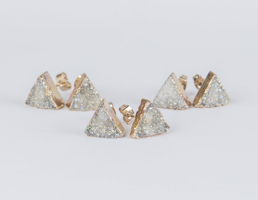 White Gold Triangle Crystal Earrings - Studio Cosmica