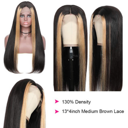 EveryWomanHair Long 13x4 Lace Front Human Hair Wigs Straight Highlight Hair 130% Density Wigs