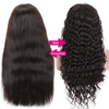 EveryWomanHair Wet And Wavy Wigs With Baby Hair Straight To Deep Wave Pre-plucked 13x4 Lace Front Human Hair Wigs 150% Density