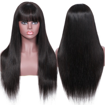 EveryWomanHair 13x4 Transparent Lace Wig With Bangs Straight Human Hair Wigs 150% Density Remy Virgin Hair