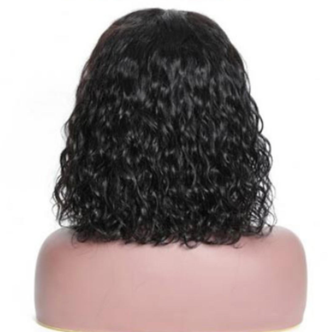 EveryWomanHair Pre-Plucked Water Wave Bob 13x4 Human Hair Lace Front Wigs For Women 130% Density