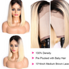 EveryWomanHair Dark Roots Blonde Short Bob Straight Hair 13x4 Lace Front Wigs 130% and 150% Density