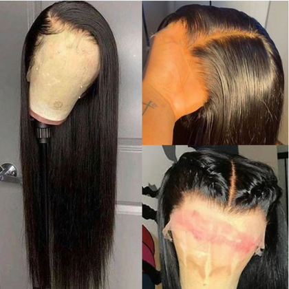 EveryWomanHair Pre-Made Fake Scalp 13x4 Lace Front Wigs Brazilian Straight Hair 150% Density
