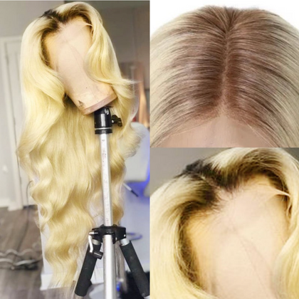 Every Woman Hair T4/613 Ombre Blonde Body Wave Human Hair 360 Lace Wigs Pre Plucked Natural Hairline 180% and 150% Density