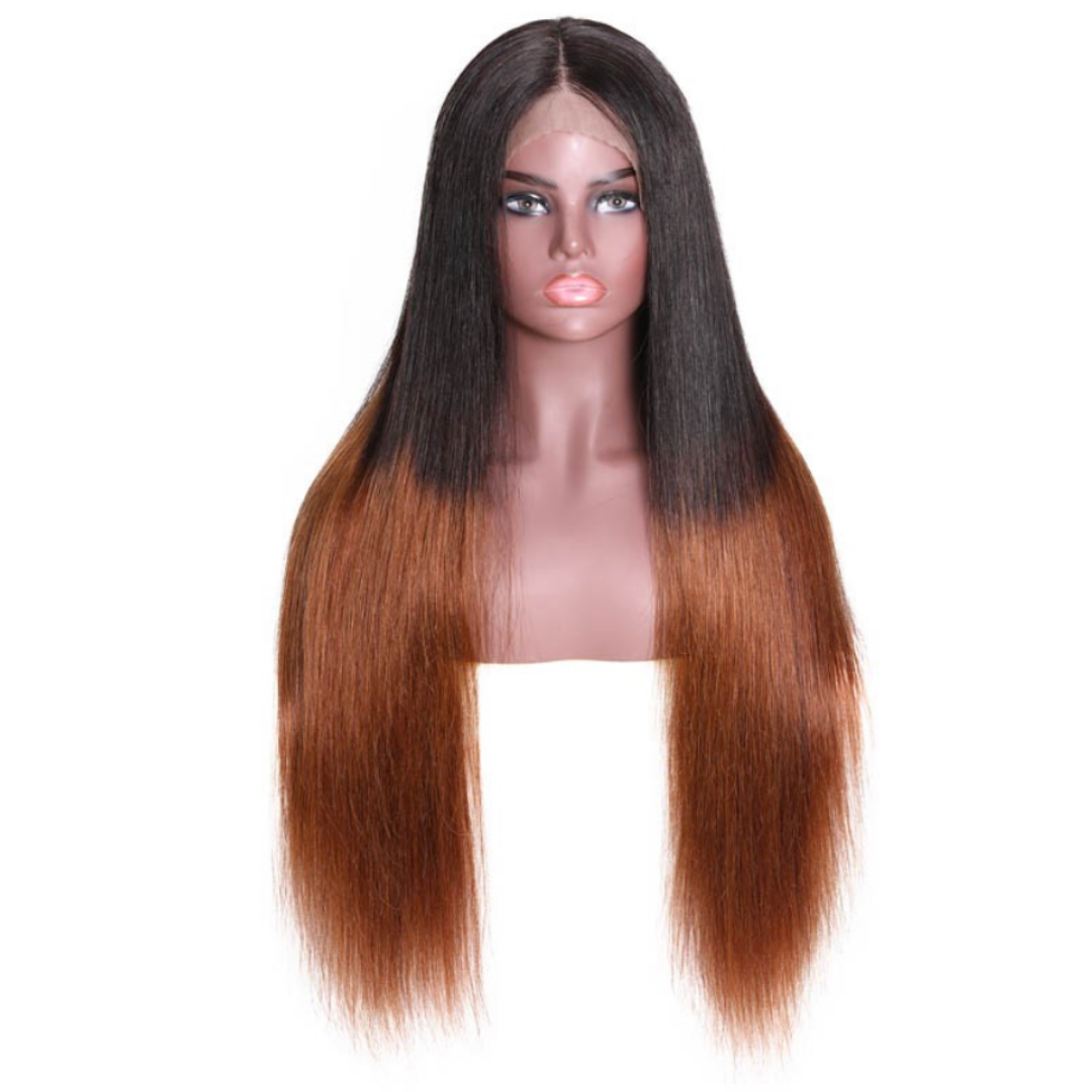 EveryWomanHair 13x6 Long Lace Front Wigs T1B/4 Pre-plucked Straight Human hair Wig 150% Density