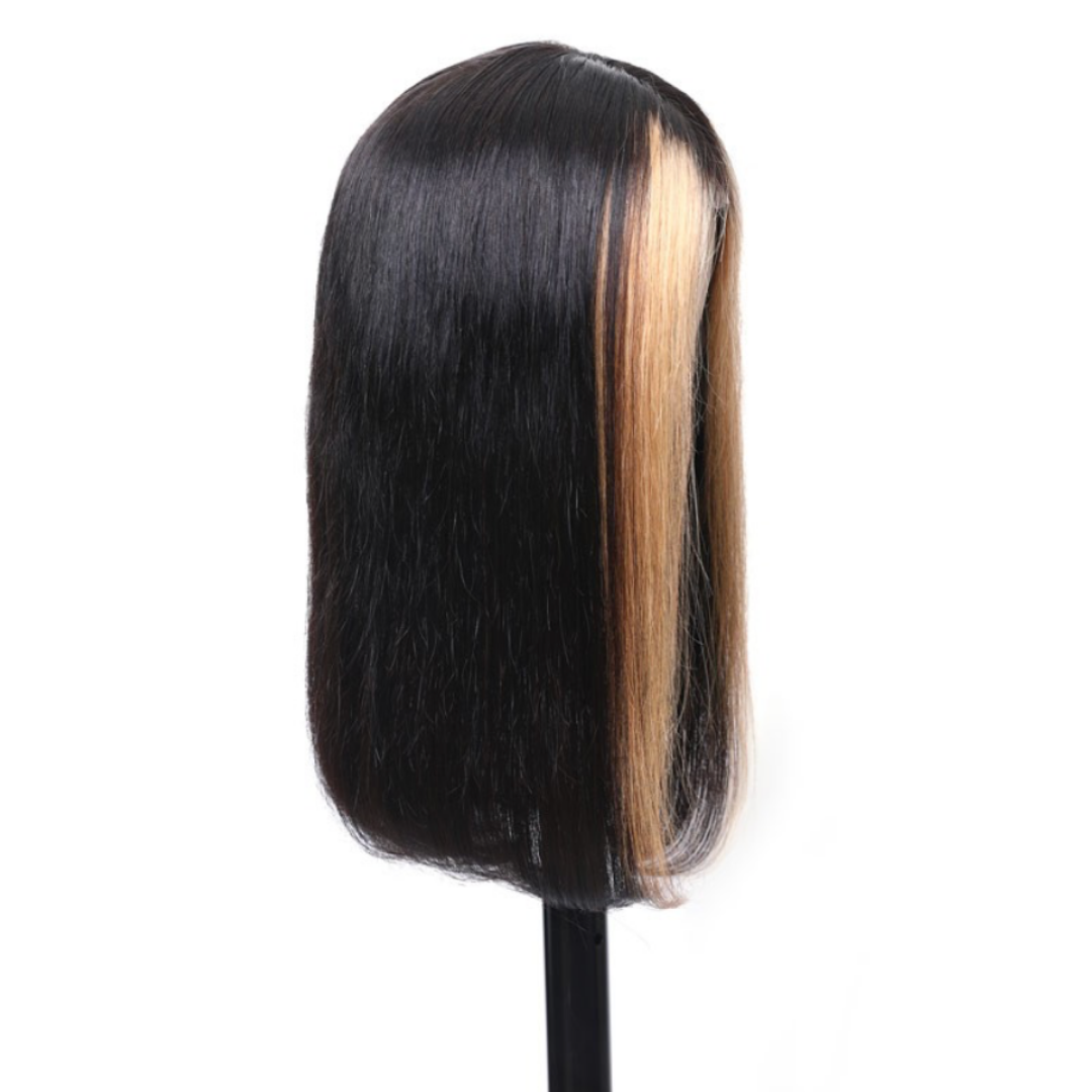 Every Woman Hair High Quality 13x4 Lace Front Wigs Straight Human Hair 150% Density Blonde Highlights Color