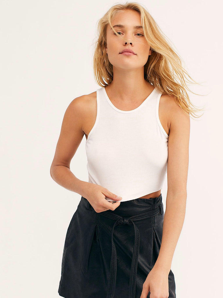 High Neck Ribbed Crop Tank in White by FREE PEOPLE