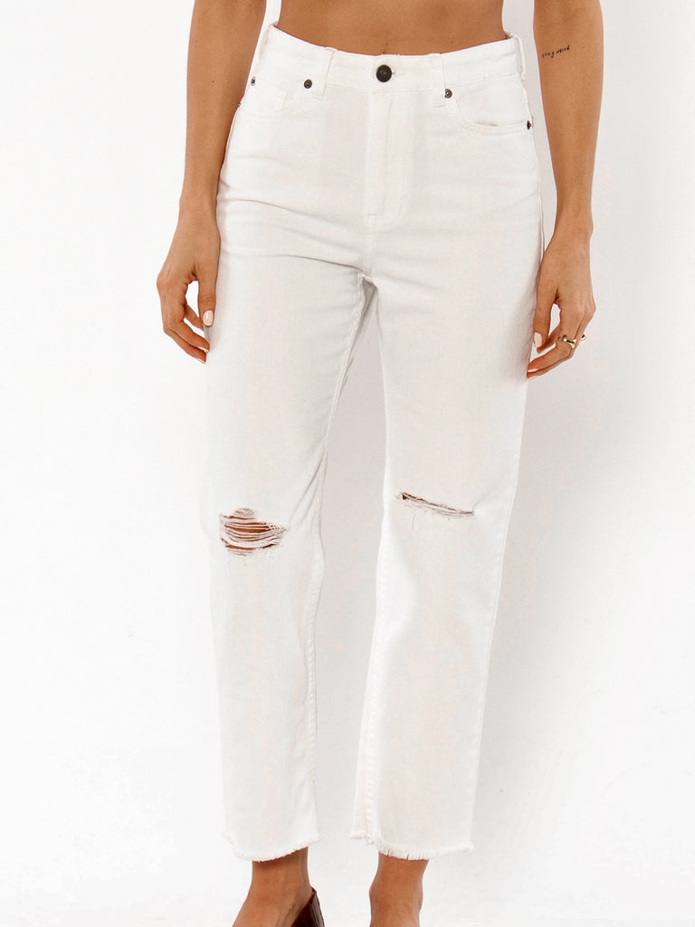 Selena Denim Pant in White by AMUSE SOCIETY