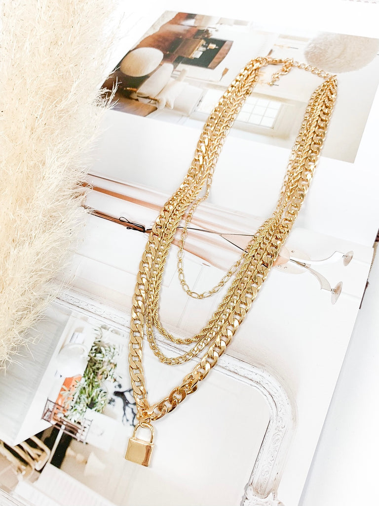Vale Multi Chain Lock Necklace