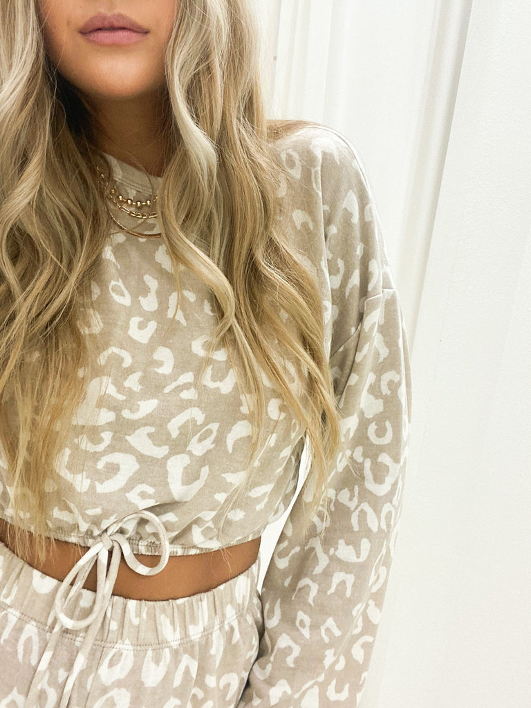 Gia Animal Print Top in Taupe