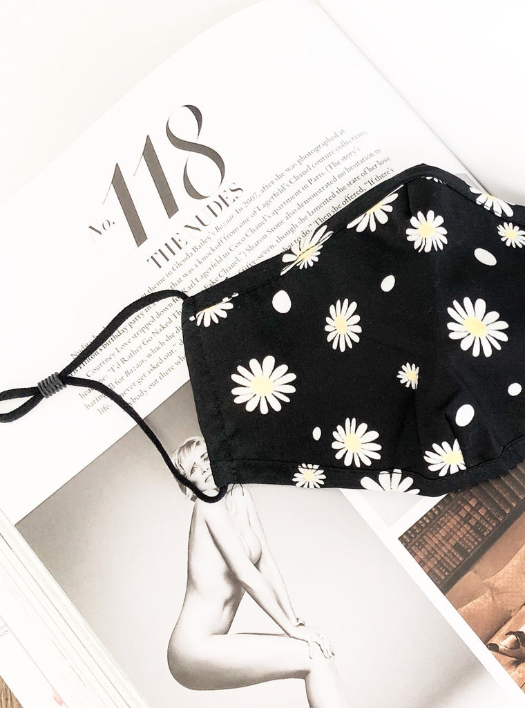 Daisy Face Mask in Black