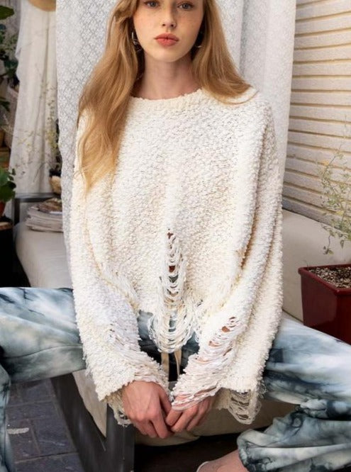 Thru the Ringer Sweater in Creme