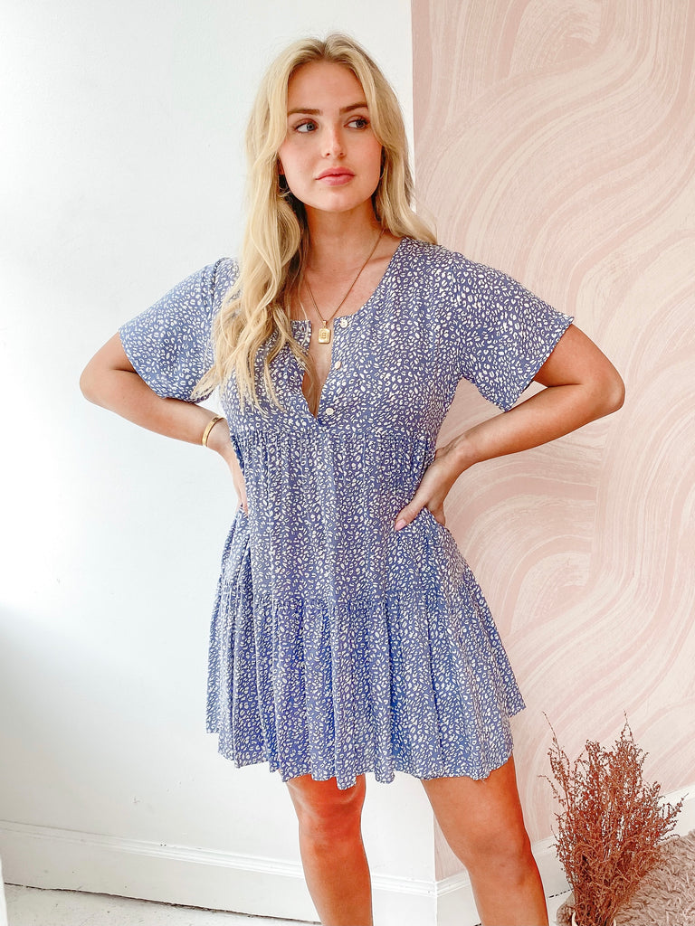 Audrey Baby Doll Dress in Blue