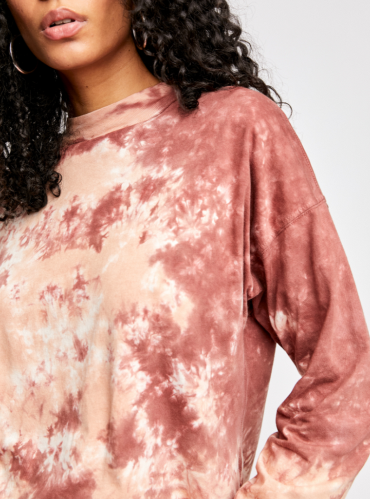 Be Free Tie Dye Tee in Cabernet by FREE PEOPLE