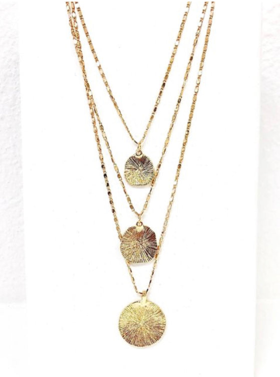 Triple Chain Medallion Necklace